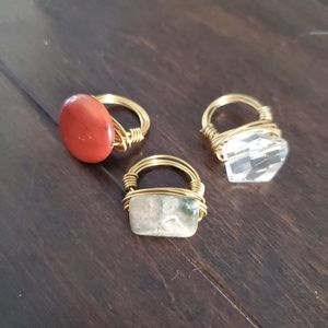 3 NEW Wire Wrapped Gemstone Rings Size 5